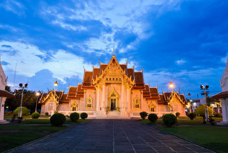 Famous and beutiful view of marble temple in Bangkok, Thailand photo