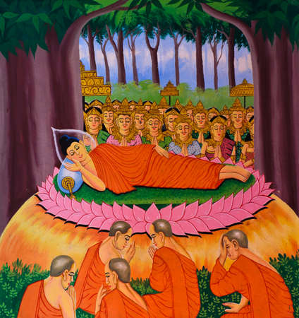 pass away: Thai Buddhist mural of life of Buddha