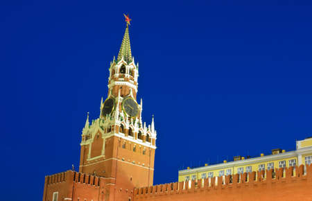 Clock tower in Red square, Moscow, Russia photo