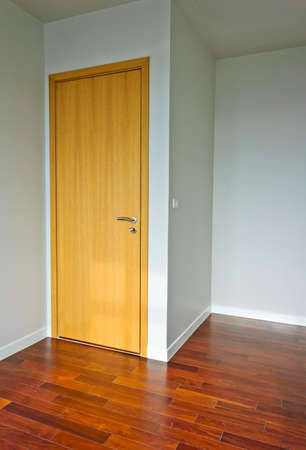 Wooden door in empty room photo