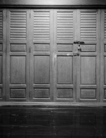 Old wooden asian style door photo