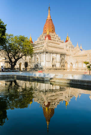 Stunning view of Ananda temple with reflection in Old Bagan, Myanmar photo