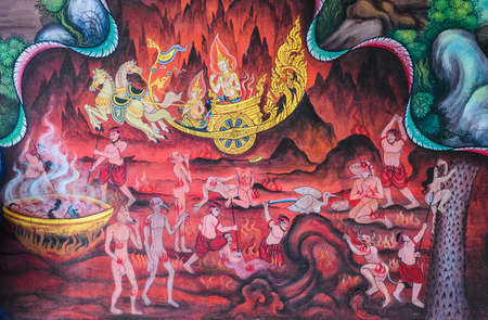 Thai Buddhist mural on temple wall, Thailand