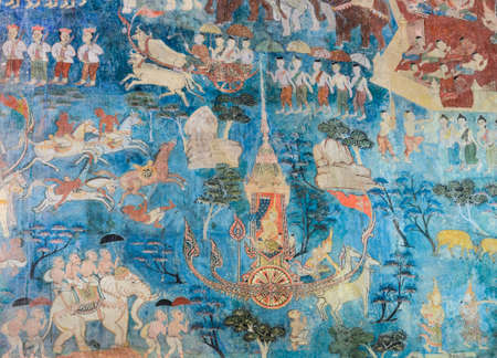 Ancient Thai mural painting of the Life of Buddha