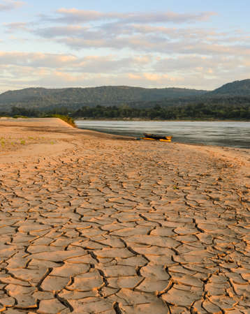 riverbed: Greenhouse effect and global warming of Makhong river during summer season, Thailand Stock Photo