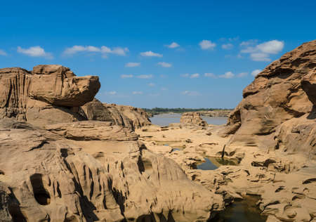 Sam Pan Bok, The Amazing of Rock shape in Mekong River during summer season, Thailand photo