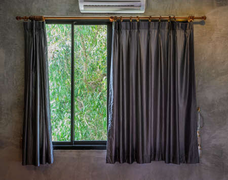 Glass window with curtain  photo