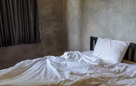 unmade: Morning view of an unmade bed