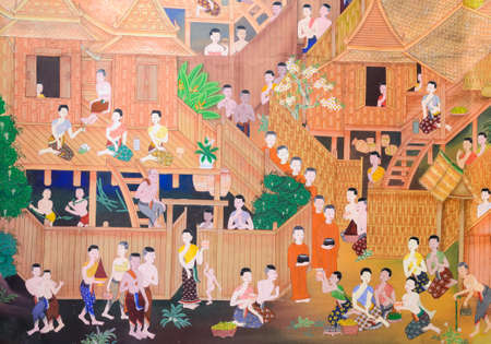 Thai mural painting of the offering food to Buddhist monks