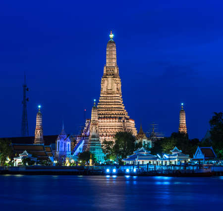 Stunning view of Wat Arun at twilight in Bangkok, Thailand