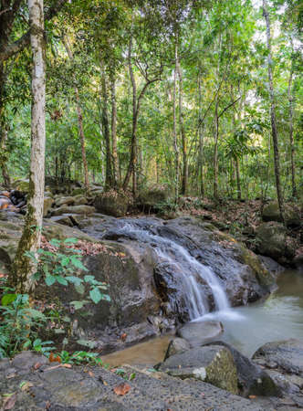 Evergreen forest waterfall in Chanthaburi, Thailand photo