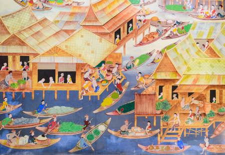 タイの水上マーケット寺院の壁に壁画