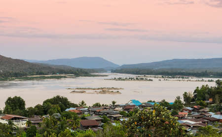 Aerial view of the riverside village of Khong Chiam in Thailand photo