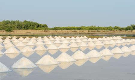 evaporacion: Mont�n de la sal del mar en la laguna de evaporaci�n, Tailandia