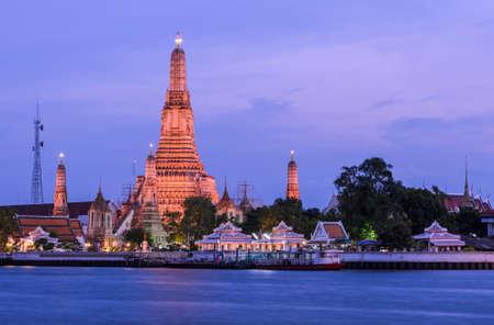 Stunning view of Wat Arun at twilight in Bangkok, Thailand photo