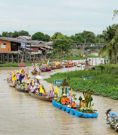 lent: Traditional parading of candles to temple  Candle procession by the river ceremony on The Buddhist Lent Day