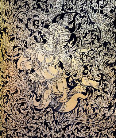 Ancient Thai gold leaf painting art of garuda photo