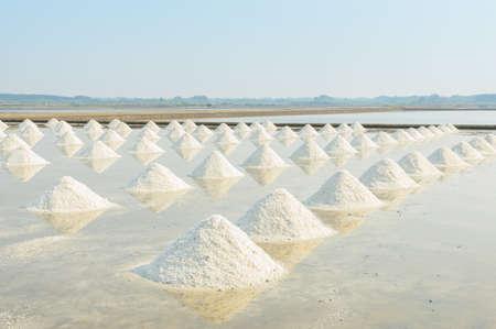 evaporation: Heap of sea salt in evaporation pond, Thailand