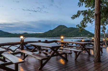 Beautiful nature view of Srinakarin dam at twilight in Kanchanaburi, Thailand photo