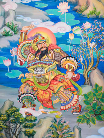 Traditional Chinese mural on temple wall photo