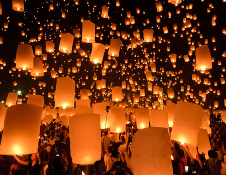 Floating lanterns ceremony or Yeepeng ceremony, traditional Lanna Buddhist ceremony in Chiang Mai, Thailand photo