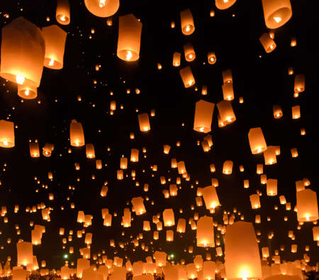 flying float: Floating lanterns ceremony or Yeepeng ceremony, traditional Lanna Buddhist ceremony in Chiang Mai, Thailand