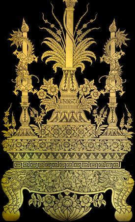 Native Thai gold leaf painting art photo