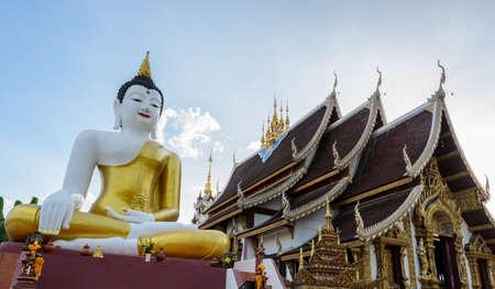bid: Bid Buddha statue at Wat Rajamontean Temple in Chiangmai Thailand Stock Photo