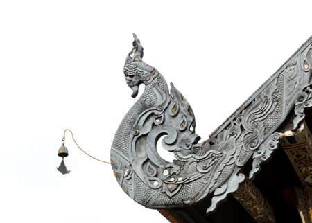Detail of Naga Lanna Gable apex of Buddhist temple roof in Thailand