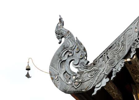 buddhist temple roof: Detail of Naga Lanna Gable apex of Buddhist temple roof in Thailand