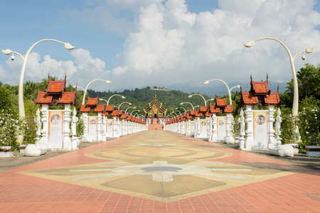 architectural style: Ho Kham Royal Pavilion, the architectural style of northern Thailand Stock Photo
