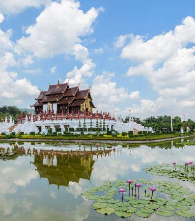 architectural style: Ho Kham Royal Pavilion, the architectural style of northern Thailand Stock Photo