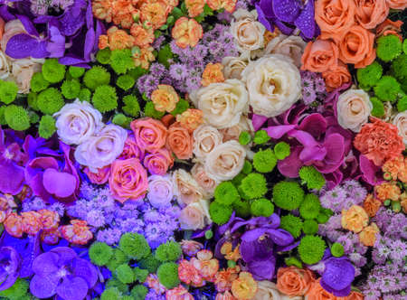 Colorful flower background of rose, chrysanthemum, carnation and orchid photo