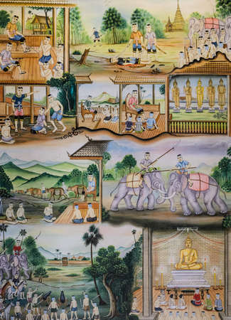 Thai mural painting of Thai people life in the past on temple wall photo