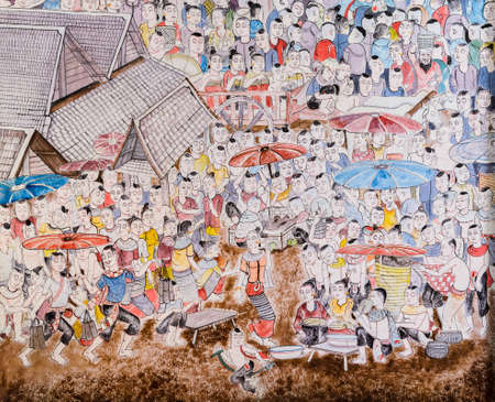 Thai mural painting of Lanna people life in the past on temple wall of Wat Chaimongkol Temple in Chiang Mai, Thailand. photo