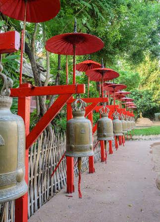 Buddhist bells in Wat Phan Tao, Chiang Mai, Thailand photo