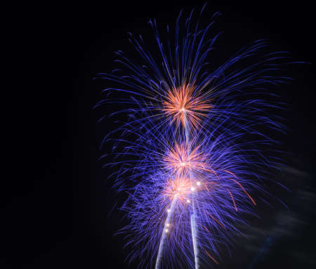 glow pyrotechnics: Colorful fireworks exploding in the night sky with copy space