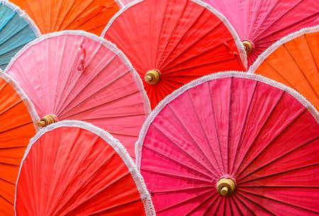Colorful of handmade natural cotton umbrellas photo