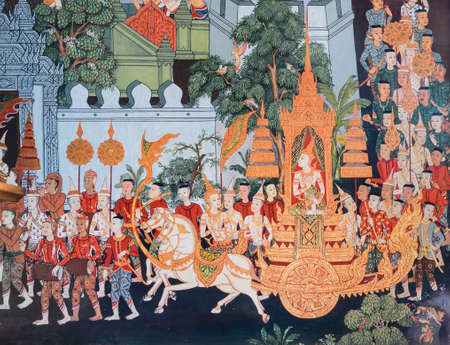 the mural: Traditional Thai mural painting on temple wall Editorial