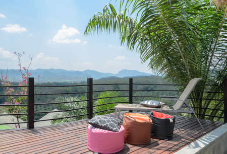 Beautiful patio relax with a wonderful mountain view. Southern Thailand photo