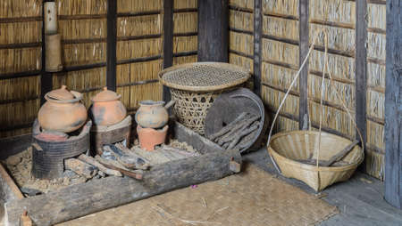 Traditional Thai kitchen in Thailand using firewood for cooking photo