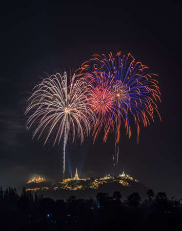 Fireworks over Phra Nakhon Khiri Historical Park (Khao Wang palace) in petchaburi, thailand photo