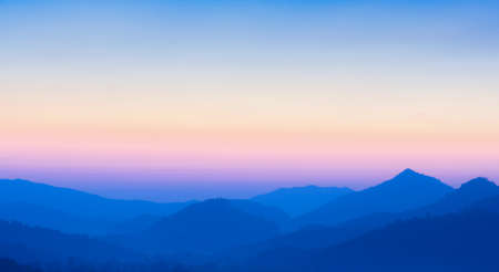 Stunning view of sunset over mountains - Defocused nature  photo