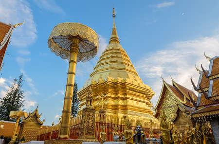 Wat Phra That Doi Suthep is the popular tourist destination of Chiang Mai, Thailand. Stock Photo