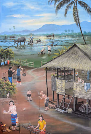 Thai mural painting of Thai people life in the past on temple wall at Wat Chetawan in Chiang Mai, Thailand
