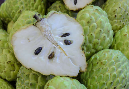 sweetsop: Heart-shaped of Custard apple or Sugar apple fruit Stock Photo