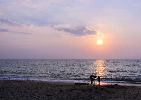 Andaman sea sunset at Khao Lak beach in Phang Nga, Thailand photo