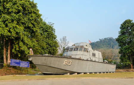 PHANG-NGA, THAILAND - FEBRUARY 15 : Tsunami Police Boat 813 (Buretpadungkit) at International Tsunami Museum on February 15, 2015 in Phang nga, Thailand. The boat was swept inland almost 2 Km. in December 26, 2004, to where it sits today.