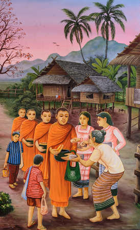 Thai mural painting of the offering food to Buddhist monks at Wat Chetawan in Chiang Mai Thailand