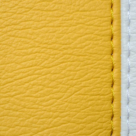 white leather texture: Yellow and white leather texture background with stitch Stock Photo